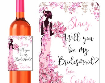 Custom Wine Labels Will You Be My Bridesmaid Maid of Honor Personalized Stickers Butterfly Bride - Waterproof Vinyl 3.5 x 5 inch