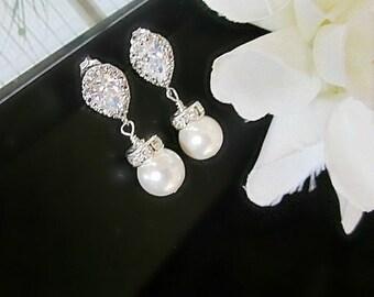 Wedding Earrings, Cubic Zirconia Earrings, Bridal Earrings, CZ Earrings, Bridal Jewelry, Drop Earrings, Bridesmaid Earrings, Pearl earrings,