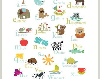 Portuguese Alphabet Print 11x14 Nursery Wall Art, Nature Themed, Kid's Art Decor, Gender Neutral Nursery, ABC, Child
