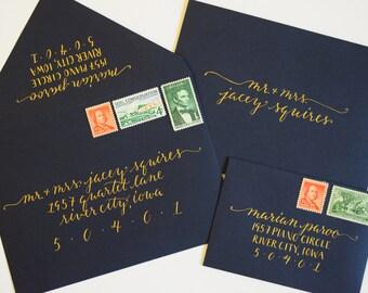 Wedding Calligraphy, Invitation Envelopes, Gold on Navy