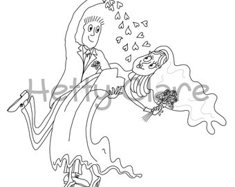 Wedding Digi Stamp Bride and Groom