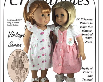 "Fab Forties PDF Sewing Pattern to fit 18"" dolls Instant Download"