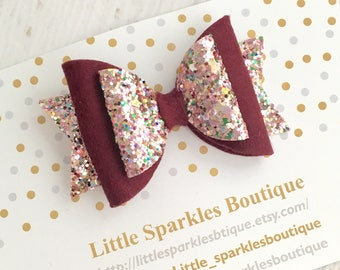 Plum hair bow, glitter hair bow, baby/girl hair bow, autumn hair bow