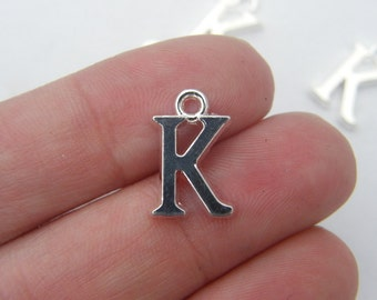 8 Letter K alphabet charms silver plated