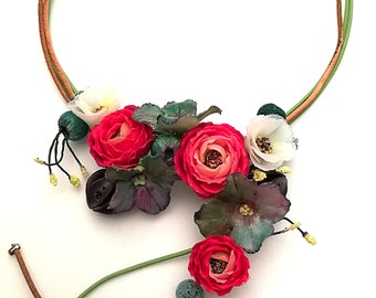 Necklace Jewelry Polymer clay Necklace Rose  Cherry blossom Hydrangea Handmade Jewelry Romantic Necklace