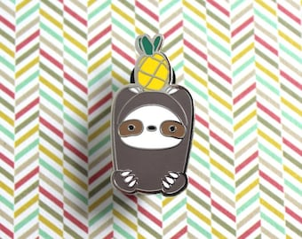 Pineapple Sloth Pin, Sloth Enamel Pin, Cute Pins, Hard Enamel Pin, Lapel Pin, Animal Pin, Sloth accessories, Sloth Jewellery, Cloisonné pin