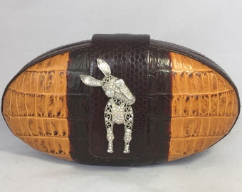 New Handmade Dark Brown Marigold Yellow Leather Oval Minaudière Clutch with Donkey Accent