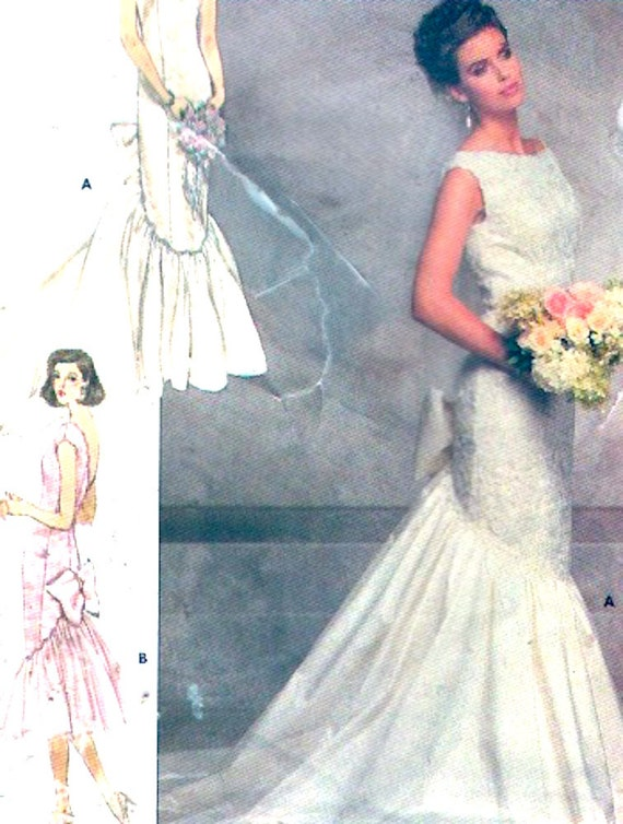 80s wedding dress Brides fishtail gown vintage sewing pattern ...