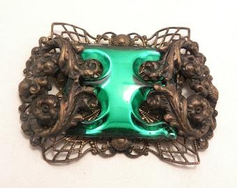 Large Vintage 1930's Paristyle N.Y.C. Signed Green Glass Ornate Brass Filigree Brooch