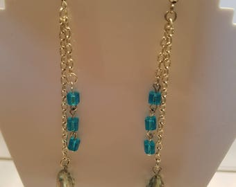 Blue Cube Drop Dangle Earings