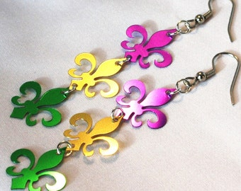 Mardi Gras Earrings Fleur De Lis Purple Gold Green Confetti Dangles Plastic Sequin Jewelry
