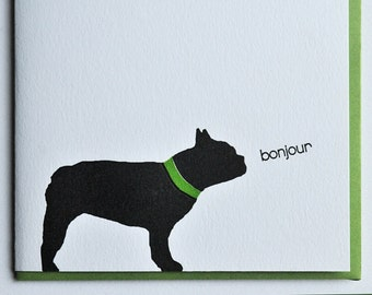 Frenchie Bulldog Bonjour Card