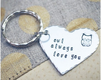 Owl Always Love You Keychain - Owl Keychain - Mother's Day Gift - Gift for Mom - Heart Keyring - I Love You - Best Friends Key Ring