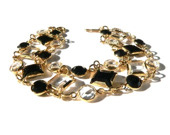 Swarovski Crystal Bracelet, Bezel Set Crystal Link Bracelet, Gold & Glass Bracelet, 1980s Designer Signed Swarovski Jewelry Daniel Swarovski