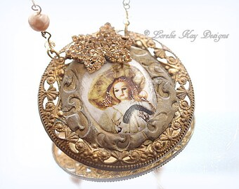 Antique Doll Porcelain Necklace Ornate Brass Assemblage Necklace Pendant