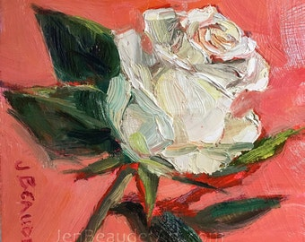 Original Oil Painting contemporary flowers, floral art, floral painting, oil on panel, 6x6 inch
