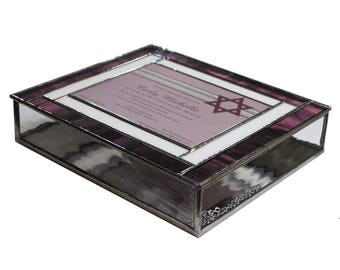Stained Glass Bat Mitzvah Invitation Keepsake Box
