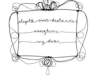 Framed wire quotes, depth over distance, song lyrics, Wire wall art, Custom wire sign, wording, calligraphy font