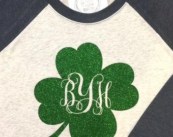 Monogrammed St. Patrick's Day Raglan Shirt - Monogram Shamrock St. Paddy's Day Tshirt - Monogram Baseball Shirt - St Patricks Day Tee