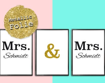 Personalized picture Mrs Mrs Women's wedding lesbian marriage same-sex