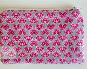 """8"""" Make Up Bag  - Pink Lotus     -  Gift for Her, Gift for Wife, Gift for Women , Gift for Mum"""