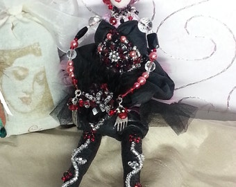 OOAK Art Doll Vintage beads Long Legs Leila gift