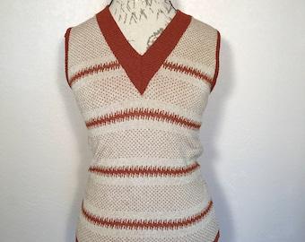Vintage 60s Sweater Vest Beige/Rust V-neck Sweater Vest Sz S Mod Collegiate Hippie Vest