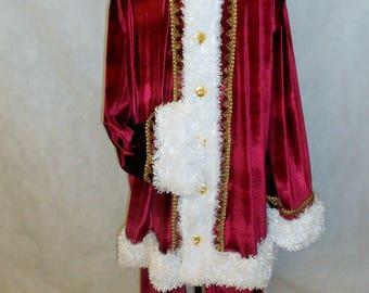 santa suit santa claus costume polyester velvet 3 pcs set coat hat - Santa Claus Coat