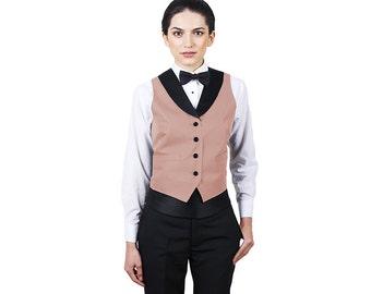 Women's Peach Full Back Tuxedo Vest with Black Lapel