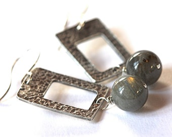 Labradorite sterling earrings rectangular