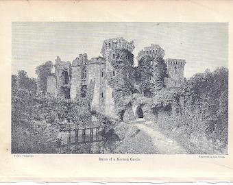 Antique Wood Engraving Original, 1897 Engraving of Ruins of a Norman Castle, John Evans Engraver, Vintage Paper, Antique Scrapbooking Paper,
