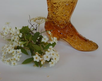 Victorian Boot Vase. Cut Glass Amber Boot Vase. Vintage Cut Glass Vase in Amber color. High top womens boot vase
