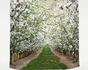 Shower Curtain -  Apple Orchard, Blossoms, Blooms, Springtime, Washington - Nature Photograpy by RDelean Designs