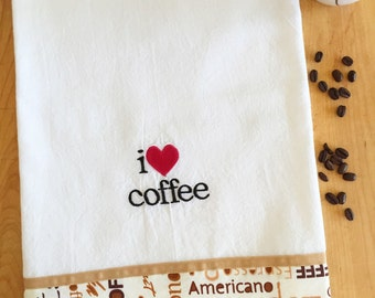 Dish Towel I HEART COFFEE / love coffee theme, Embroidered flour sack style