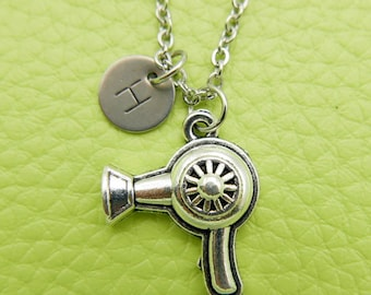 Hair dryer Initial Necklace Monogram Stainless steel chain
