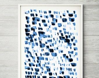 Reflections, abstract watercolor,  modern painting, blue abstract, blue abstract painting, blue abstract art,  modern wall art