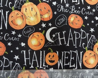 "Halloween Fabric, Halloween The Boo Crew Pumpkins by Springs Creative  100% cottonFabric by the yard 36""x44"" (SC238)"