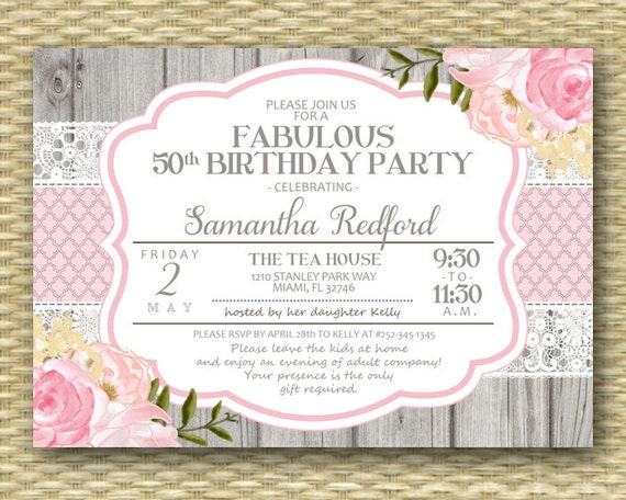 50th Birthday Invitation 50 and Fabulous Shabby Chic Rustic