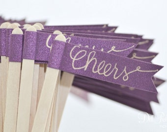 25 Purple Paper Flag Stir Sticks or Drink Stirrers with Gold Calligraphy