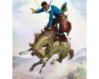 Cowboy Greeting Card - Bucking Bronco Rider - Repro Elwell