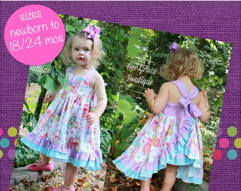Baby Sophia's Open Back Ruffled Dress PDF Pattern Sizes Newborn to 18/24m