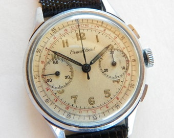 Vintage Ernest Borel Swiss Chronograph Watch -1940's With Valjoux 23 Movement