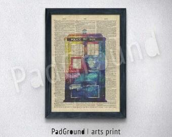 Doctor Who Print, TARDIS Print, Police Box Poster, Home Decor, Wall Decor, Boys Gifts, Kids Birthday Gifts, Burlap Prints with Frame -DW07
