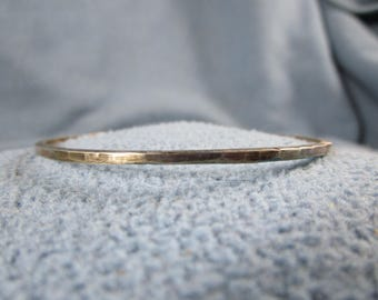 Sterling Silver Square Wire Bangle Bracelet with Random  Hammered Texture and Antique Patina Finish