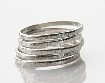 Stacking Rings. Silver Rings. Hammered Silver Stack Rings, Set of Five Bands, Artisan Jewelry, Custom Jewelry. Gift Under 40