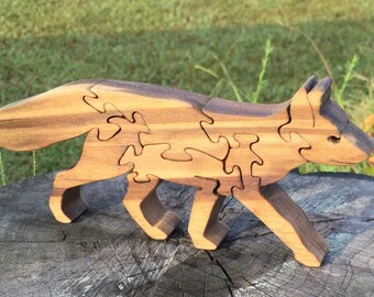 Wooden Puzzles Fox Wood Puzzle Animal Puzzle Zoo Animal Kids Puzzle Wooden Toy Wood Toy Baby Puzzle Baby Shower Gift Nursery Gift