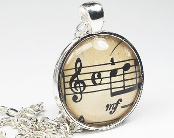 Sheet Music Necklace- Vintage Sheet Music Pendant from an 1882 Book, Music Jewelry, Music Teacher Gift, Music Lover Gift