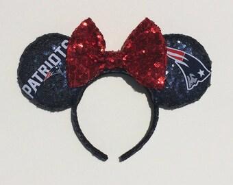 New England Patriots Mickey Mouse Minnie Mouse Ears headband
