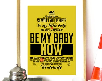 Be My Baby Music Poster inspired by Ronette's song Vintage Music Poster Motwon inspired Poster - Ronettes Be My Baby Art Music Poster song