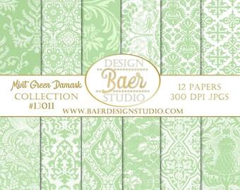 DIGITAL PAPER SALE:Mint Green Digital Paper, Green Vintage Digital Paper, Green Damask Digital Paper, St Patricks Day Digital Paper, #13011